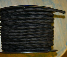 Black Cloth Covered 3-Wire Overbraid Fabric Cord 16ga. Vintage Lamps Lights Fans
