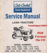 Lot 805-1720 Lawn Tractor Cub Cadet Shop Service Repair Manual 1615 1620 1715 CD