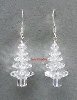 Clear CRYSTAL Christmas Tree Earrings SWAROVSKI Elements .925 Sterling Silver
