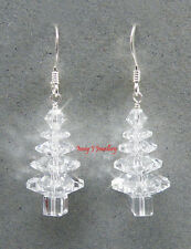 Clear CRYSTAL Christmas Tree Earrings SWAROVSKI Elements .925 Sterling Silver