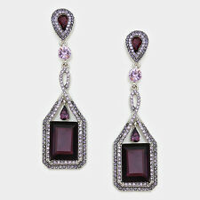 "Chandelier Earrings Rhinestone Rectangle Crystal PURPLE 3"" Long Wedding Evening"