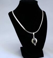 "AMZING ITALY STERLING SILVER LARIAT NECKLASE 24 GRAMS 22"" LONG ONYX TAXCO PENDA"