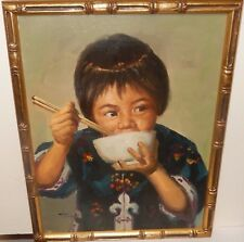 TOM WONG KOREAN GIRL ORIGINAL OIL ON CANVAS PAINTING