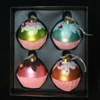 Vtg Foot Cupcakes Christmas Tree Glass Ornaments 4 pc lot large Kugel Germany