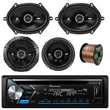"""Pioneer CD Bluetooth 1-DIN Radio, 2x Kicker 6x8"""" + 2x 6.5"""" Speaker, 50 Ft Wire"""