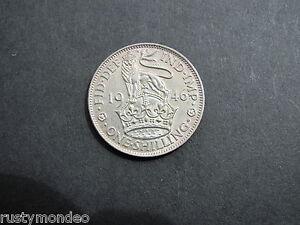 King George VI, 1946, .500 Silver ' English ' Shilling. Grade Ex Fine