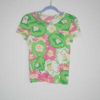 Lilly Pulitzer Tee Medium Floral Print Green Pink Cotton Crewneck Top