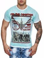 Uomo T-Shirt Blu Girocollo Sky On The Roof Top USA New York john kayna