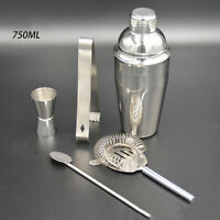 Stainless Steel Cocktail Shaker Mixer Drink Bartender Martini Tools Bar Set UK