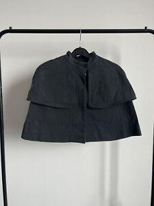Vilshenko Sample Charcoal grey heavy cotton cropped mini cape 8UK