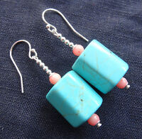 NWT 925 STERLING SILVER TURQUOISE CORAL bead dangle drop pierced earrings K90