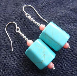 NWT 925 STERLING SILVER TURQUOISE CORAL bead dangle drop pierced earrings K90