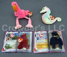 4 Ty Beanie Babies Original Collection Pinky Flamingo Neon Seahorse Rex the End