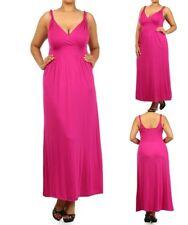 LD11 Womens Fuchsia Size 14/16 Stretch V Pleated Straps Maxi Summer Dress Plus