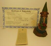 RETIRED OLD VINTAGE 1991 TOM CLARK GNOME HOLLY CHRISTMAS GIRL STATUE FIGURE 5174