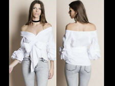Ladies Bardot Top Bell Sleeve Waist Tie Cross off Shoulder Gingham Shirt Blouse White Wrap Belted Top-ruched Sleeves Casual N Uk8