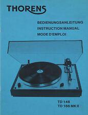 Thorens TD 146  166 MKII Bedienungsanleitung manual deutsch englisch französisch
