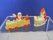Two Vintage Mini Bisque Santa figurines Germany & Japan