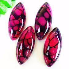 4Pcs Nice Rose&Black Dragon Veins Agate Marquise Pendant Bead 35*15*6mm AE2428