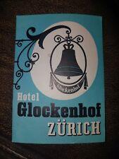 Vintage Hotel Glockenhof In Zurich Switzerland Luggage Label 1950s