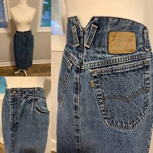 Vtg Levis Womens Modest Blue Jean Retro midi long Skirt  Sz M  USA