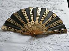 Antique Victorian Hand Fan Gold Gilt Wood Fluer De Lis Design Fabric Mourning