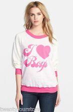 NWT $109 Wildfox Couture I Love Boys Kim's Sweater Sweatshirt Baggy Beach sz XS
