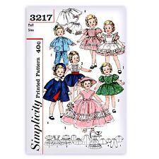 "17"" Doll Dress Sewing Pattern SIMPLICITY 3217 Coat Skirt Petticoat Hat Pajamas"