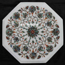 12'' White Marble Top Coffee Table Inlay Abalone Stone Marquetry Art Decor H3107