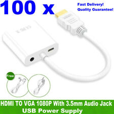 Wholesales! 100 x HDMI Male to VGA Female Converter Adapter + Audio + USB Power