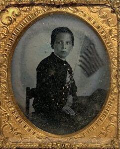 CIVIL WAR AMBROTYPE AMERICAN FLAG & CHILD COSTUME UNIFORM 1/6 Plate PHOTOGRAPH