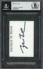 President George W. Bush Signed 3x5 Cut Autographed Beckett Bas Auto