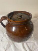 Vintage Hand Made Pottery Stoneware Bean Pot Crock Brown Glaze