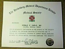 Vintage 1973 Us Army Heidelberg Medical Society Award Document