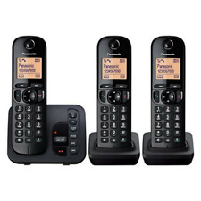 PANASONIC TGC223 CORDLESS TRIO PHONE WITH ANSWERING MACHINE BLACK KX-TGC223EB