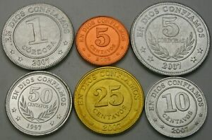 NICARAGUA 5 Centavos / 5 Cordobas 1997/2007  - Lot of 6 Coins - UNC *