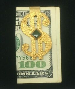 """Real Placer Gold Nugget Dollar Sign Money Clip with Alaska Jade - 2"""" x 1"""""""
