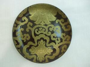 """Pottery Barn Chinoise 7"""" Salad Dessert Plate Mink Brown with Gold Scroll Design"""