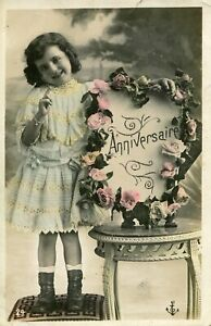 Vintage French Children RPPC postcard - JC239