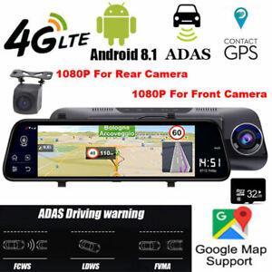 WIFI 4G Android 8.1 GPS Navigation HD 1080P Car Mirror Rear Camera Dash Cam ADAS