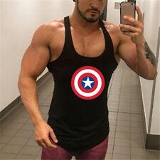 Men Fitness Training Clothes Gym Captain America Bodybuilding Wear Singlets
