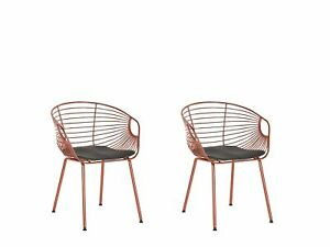 Set of 2 Metal Dining Chairs Copper Wire Backrest Faux Leather Seat Pad Hoback