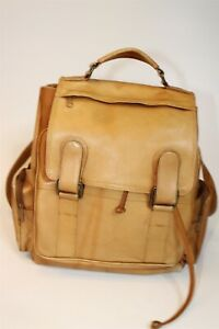 Handcrafted Large Tan Leather Flap Front Backpack Carrier Bag