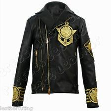 New Men BALMAIN X H&M Black Gold Metal Embroidered Lion Leather Jacket