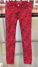 New Authentic USA Women Floral Red Robin's Jean Casual Jeans Size 26