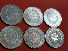 Lot 6 pièces argent 50 Francs Hercule an 1974 / 75 / 76 / 77 / 78 / 79 Lot n° 11