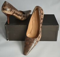 GUCCI BROWN & BEIGE SNAKESKIN PUMPS/COURT SHOES - SIZE 38.5C / UK 5.5 / USA 8.5