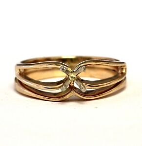 14k yellow gold semi mount solitaire engagement ring wedding band 4.7g womens