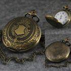 Antique Vintage Retro Bronze Quartz Pendant Chain Necklace Figure Pocket Watch