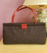 Sequoia Designer French Gray Rectangular Hand Bag w Red Leather Handles & Logo